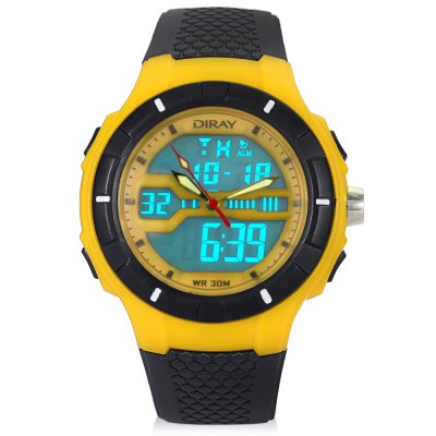 DIRAY DR - 333AD Children Dual Movt WatchKids Watches<br>DIRAY DR - 333AD Children Dual Movt Watch<br><br>Band Length: 8.46 inch<br>Band Material Type: PU<br>Band Width: 20mm<br>Case material: Plastic<br>Case Shape: Round<br>Clasp type: Pin Buckle<br>Dial Diameter: 1.75 inch<br>Dial Display: Analog-Digital<br>Dial Window Material Type: Plastic<br>Feature: Alarm,Auto Date,Back Light,Chronograph,Day,Led Display,Luminous<br>Gender: Children<br>Movement: Digital,Quartz<br>Style: Sport<br>Water Resistance Depth: 30m<br>Product weight: 0.055 kg<br>Package weight: 0.133 kg<br>Product Size(L x W x H): 24.50 x 5.00 x 1.50 cm / 9.65 x 1.97 x 0.59 inches<br>Package Size(L x W x H): 8.00 x 8.00 x 8.00 cm / 3.15 x 3.15 x 3.15 inches<br>Package Contents: 1 x DIRAY DR - 333AD Children Dual Movt Sports Watch