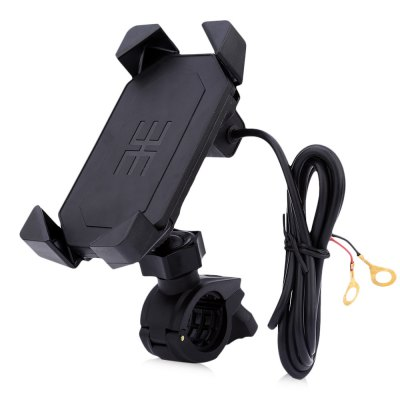 IZTOSS 2 in 1 Motorcycle Elastic Cellphone Stand Holder USB Charger