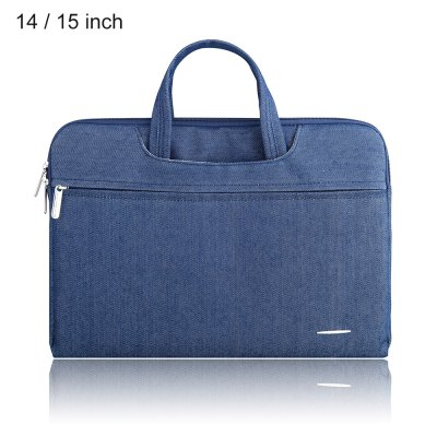 SSIMOO 2 in 1 Jean Fabric Laptop Sleeve Zipper Bag for MacBook 14 / 15 inch