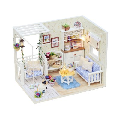 H - 013 DIY Wooden Dollhouse Miniature Box - Cat Diary
