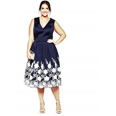 V-neck Sleeveless Floral Print Pleated Mid-calf Plus Size Women A-line Dress