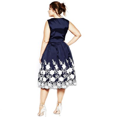 Sexy V-neck Sleeveless Floral Print Pleated Mid-calf Plus Size Women A-line Dress