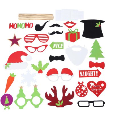 27pcs Photo Booth Props Christmas Decorations