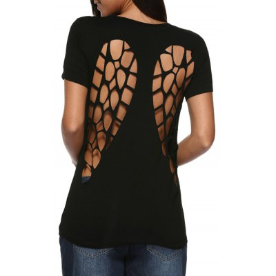 Women Sexy Round Collar Back Hollow Out T-Shirt
