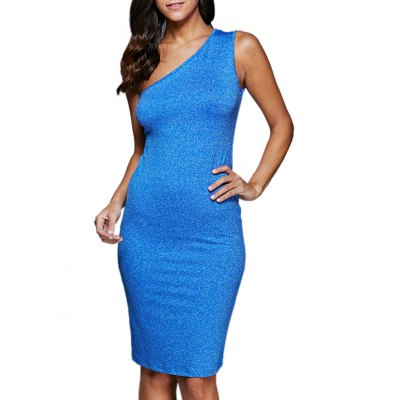 Women Sexy One Shoulder Hollow Out Solid Color Dress