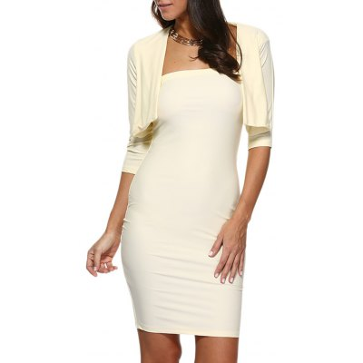 Women Strapless Bodycon Dress Collarless Pure Color Jacket Twinset
