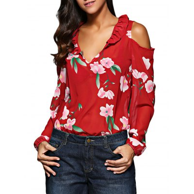 V-Neck Flare Sleeve Flounced Floral Cut Out Chiffon Women Blouse