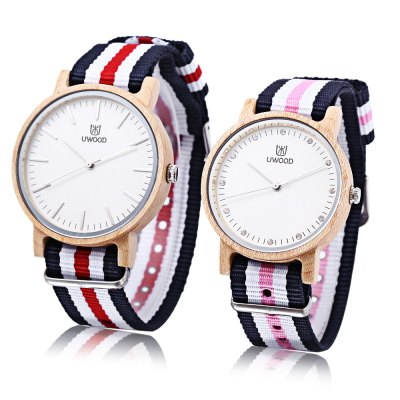 UWOOD UW - 1006 Couple Quartz WatchCouples Watches<br>UWOOD UW - 1006 Couple Quartz Watch<br><br>Band Length: men: 10.24 inch, women: 9.45 inch<br>Band Material Type: Nylon<br>Band Width: men: 20mm, women: 18mm<br>Case material: Wooden<br>Case Shape: Round<br>Clasp type: Pin Buckle<br>Dial Diameter: men: 1.63 inch, women: 1.49 inch<br>Dial Display: Analog<br>Dial Window Material Type: Hardlex<br>Gender: lovers,Men,Women<br>Movement: Quartz<br>Style: Business,Dress<br>Water Resistance Depth: 10m<br>Product weight: 0.052 kg<br>Package weight: 0.234 kg<br>Product Size(L x W x H): 26.00 x 8.20 x 1.50 cm / 10.24 x 3.23 x 0.59 inches<br>Package Size(L x W x H): 17.00 x 8.00 x 6.00 cm / 6.69 x 3.15 x 2.36 inches<br>Package Contents: 1 x UWOOD UW - 1006 Couple Quartz Watch