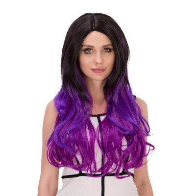 Europe Ombre Long Wavy Gradient Mixed Color Wigs Heat Resistant Synthetic Hair Cosplay Party