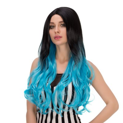 Europe Ombre Long Wavy Gradient Mixed Color Wigs