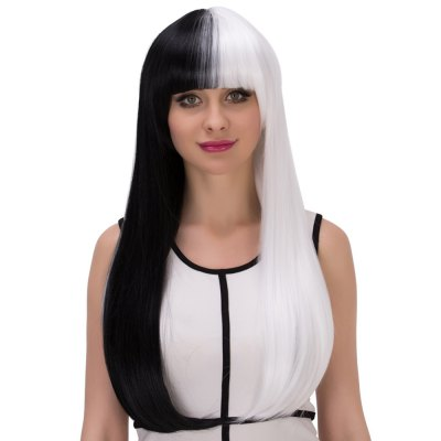 Europe Long Straight Mixed Colors Half Black Wigs for Cosplay Street Shooting Nightclub Performances