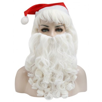 Halco Holidays Complete Deluxe Santa Claus Christmas Big Wavy Wig Beard Hat Kit Costume Accessory Fancy Dress