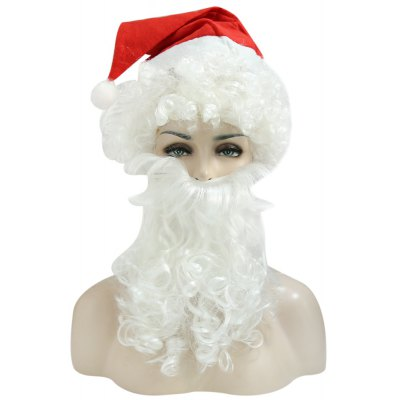 Complete Santa Claus Christmas Curly Wig Beard Hat Kit
