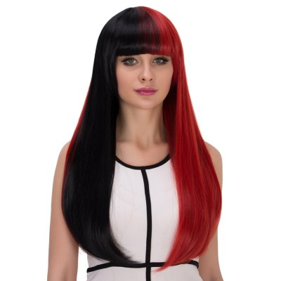Europe Long Straight Mixed Colors Half Black Wigs