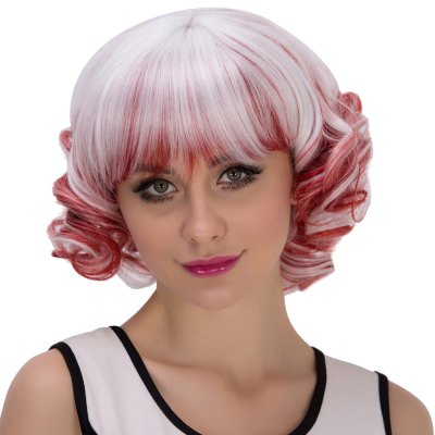 Women Short Curly Mixed Color Red White Highlights Wigs