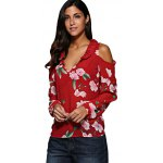 cheap Women V-Neck Flare Sleeve Flounced Floral Cut Out Chiffon Blouse