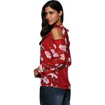 Women V-Neck Flare Sleeve Flounced Floral Cut Out Chiffon Blouse deal