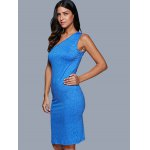 cheap Women Sexy One Shoulder Hollow Out Solid Color Dress