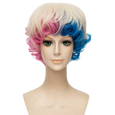 Short Curly Gradient Mixed Colors Blue Pink Wigs Synthetic Hair Cosplay Costume
