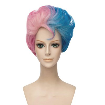 Short Curly Gradient Mixed Colors Blue Pink Wigs Male Version Cosplay Costume