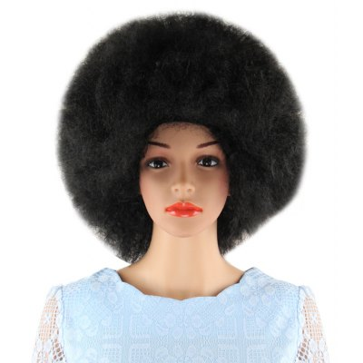 Short Black Wigs Inflated Fluffy Afro Hair for Window Models Cosplay Halloween Masquerade