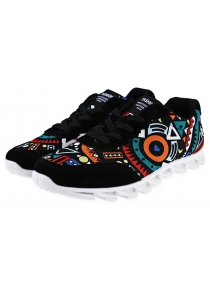 Scrawl Design Lace Up Men Sneakers