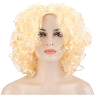 Medium Curly Light Gold Wigs Loose Spiral Perms Hair Cosplay for Marilyn Monroe