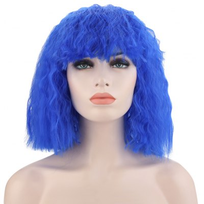 Medium Curly Colorful Wigs Full Bangs Soft Spiral Perms Hair for Cosplay Christmas Halloween