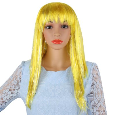 Long Straight Mixed Colors Wigs Rain Hairstyle for Street Shooting Cosplay Halloween Masquerade Window Mode