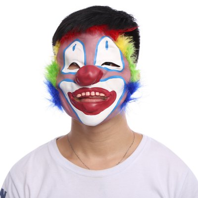 Funny Clown Latex Mask with Colorful Feather