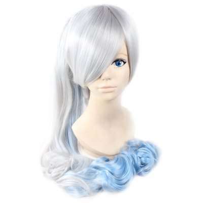 Women Split Type Long Silver Blue Wigs with Ponytails