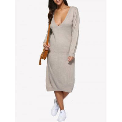 Plunging Neck Pure Color Loose Women Sweater Dress