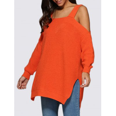 Cold Shoulder Loose-Fitting Knitted Women Sweater