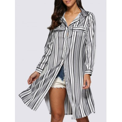 Women Street Style Turn Down Collar Allover Striped Blouse