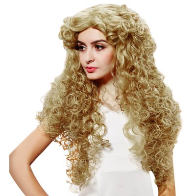 European Women Texture Long Curly Golden Wigs Loose Spiral Perms Synthetic Hair