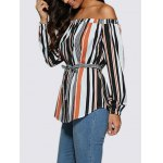 Women Trendy Off The Shoulder Striped Sash Waist Blouse deal