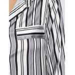 Women Street Style Turn Down Collar Allover Striped Blouse for sale