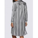 Women Street Style Turn Down Collar Allover Striped Blouse deal