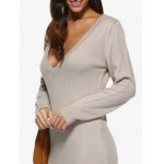 cheap Women Sexy Plunging Neck Pure Color Loose Sweater Dress