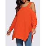 Women Sexy Cold Shoulder Loose-Fitting Knitted Sweater