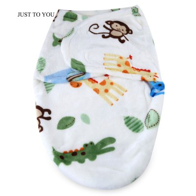 JUST TO YOU Anti-kick Flannel Cartoon Animal Print Swaddling