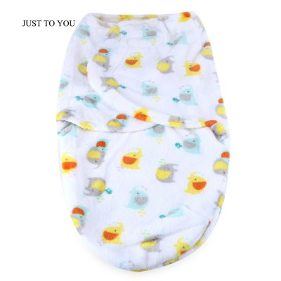 JUST TO YOU Anti-kick Flannel Cartoon Print Swaddling
