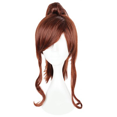 Women Long Brown Wigs Side Bangs with Ponytail Anime Cosplay for Sailor Moon Kino Makoto Figure