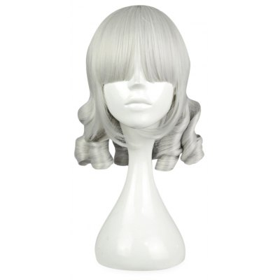 Full Bangs Medium Straight Silver White Wigs