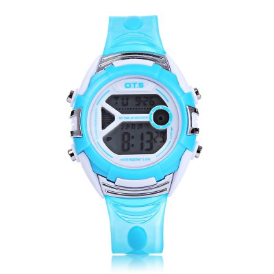 OTS 6999L Children LED Digital WatchKids Watches<br>OTS 6999L Children LED Digital Watch<br><br>Band Length: 7.85 inch<br>Band Material Type: Rubber<br>Band Width: 16mm<br>Case material: Plastic<br>Case Shape: Round<br>Clasp type: Pin Buckle<br>Dial Diameter: 1.38 inch<br>Dial Display: Digital<br>Dial Window Material Type: Plastic<br>Feature: Alarm,Auto Date,Chronograph,Date,Day,Led Display,Luminous<br>Gender: Children<br>Movement: Digital<br>Style: Sport<br>Water Resistance Depth: 30m<br>Product weight: 0.030 kg<br>Package weight: 0.051 kg<br>Product Size(L x W x H): 23.50 x 3.50 x 1.30 cm / 9.25 x 1.38 x 0.51 inches<br>Package Size(L x W x H): 24.50 x 4.50 x 2.30 cm / 9.65 x 1.77 x 0.91 inches<br>Package Contents: 1 x OTS 6999L Children LED Digital Watch