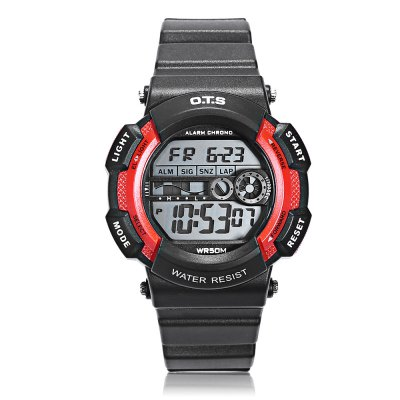 OTS T6900L Children LED Digital WatchKids Watches<br>OTS T6900L Children LED Digital Watch<br><br>Band Length: 7.4 inch<br>Band Material Type: Rubber<br>Band Width: 16mm<br>Case material: Plastic<br>Case Shape: Round<br>Clasp type: Pin Buckle<br>Dial Diameter: 1.46 inch<br>Dial Display: Digital<br>Dial Window Material Type: Plastic<br>Feature: Alarm,Auto Date,Chronograph,Date,Day,Led Display,Luminous<br>Gender: Children<br>Movement: Digital<br>Style: Sport<br>Water Resistance Depth: 50m<br>Product weight: 0.041 kg<br>Package weight: 0.062 kg<br>Product Size(L x W x H): 22.50 x 3.70 x 1.50 cm / 8.86 x 1.46 x 0.59 inches<br>Package Size(L x W x H): 23.50 x 4.70 x 2.50 cm / 9.25 x 1.85 x 0.98 inches<br>Package Contents: 1 x OTS T6900L Children LED Digital Watch