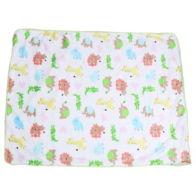 Soft Cartoon Animal Print Double Layers Cover Hold Blanket