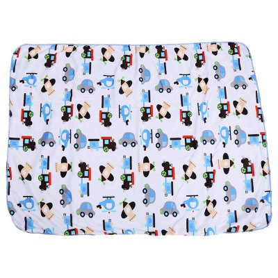 Soft Cartoon Car Print Double Layers Cover Hold Blanket