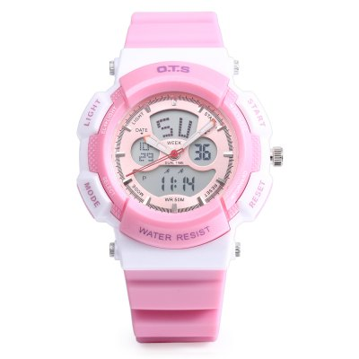 OTS T8003L Kids Dual Movt WatchKids Watches<br>OTS T8003L Kids Dual Movt Watch<br><br>Band Length: 7.29 inch<br>Band Material Type: Rubber<br>Band Width: 16mm<br>Case material: Alloy<br>Case Shape: Round<br>Clasp type: Pin Buckle<br>Dial Diameter: 1.52 inch<br>Dial Display: Analog-Digital<br>Dial Window Material Type: Plastic<br>Feature: Alarm,Auto Date,Chronograph,Date,Day,Led Display,Luminous<br>Gender: Children<br>Movement: Digital,Quartz<br>Style: Sport<br>Water Resistance Depth: 50m<br>Product weight: 0.037 kg<br>Package weight: 0.058 kg<br>Product Size(L x W x H): 22.50 x 4.00 x 1.50 cm / 8.86 x 1.57 x 0.59 inches<br>Package Size(L x W x H): 23.50 x 5.00 x 2.50 cm / 9.25 x 1.97 x 0.98 inches<br>Package Contents: 1 x OTS T8003L Kids Dual Movt Watch