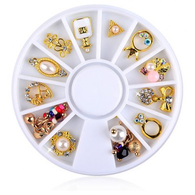 12pcs Nail Gold Flower Ring Alloy Pearl Jewelry Decoration